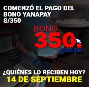 bono yanapay primer grupo 14 septiembre